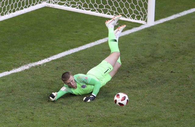 <p>England goalkeeper Jordan Pickford makes another great save </p>