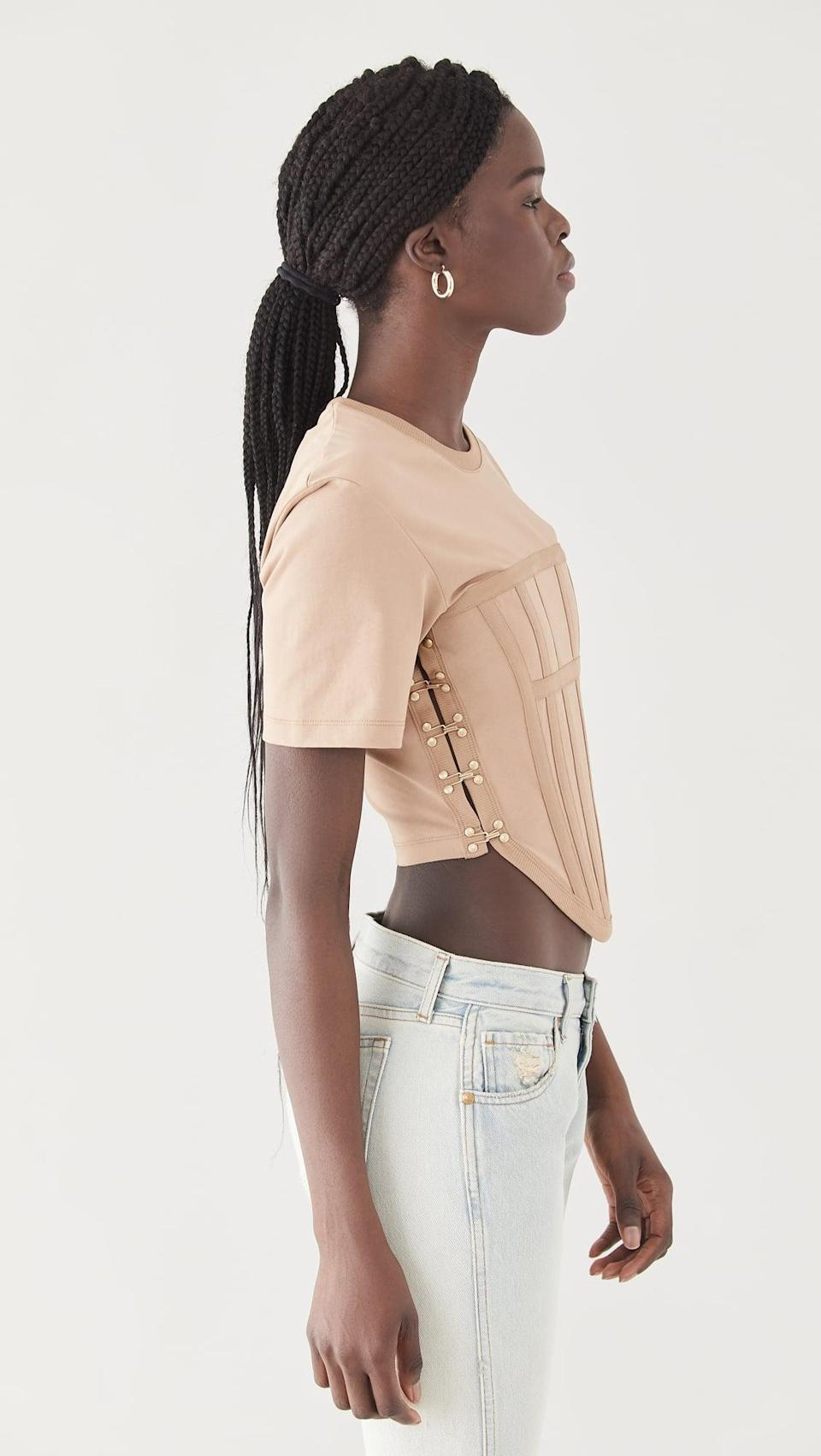 <p>This neutral <span>Dion Lee Jersey Corset Tee</span> ($390) is another great option if you're looking to try the trend. We're very into the casual T-shirt top paired with the sexy corset body.</p>