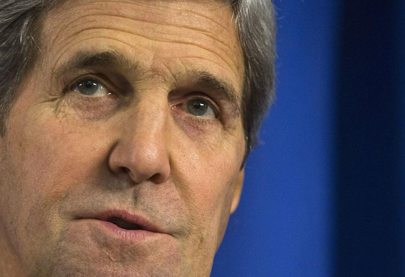 US Secretary of State John Kerry speaks during a media briefing in London on February 21, 2015