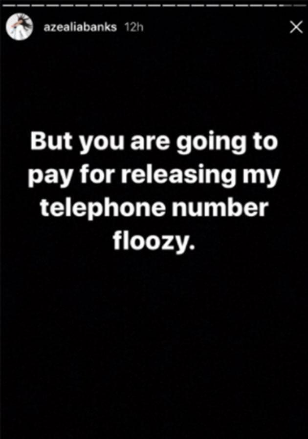 Azealia threatened Ri Ri on Instagram Stories well after the feud was over. Photo: Instagram