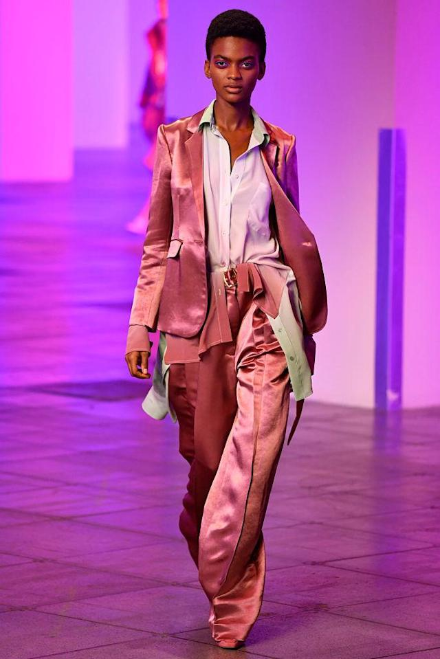 <p>Model wears a pastel pink pantsuit at the fall 2018 Sies Marjan show. (Photo: Getty Images) </p>