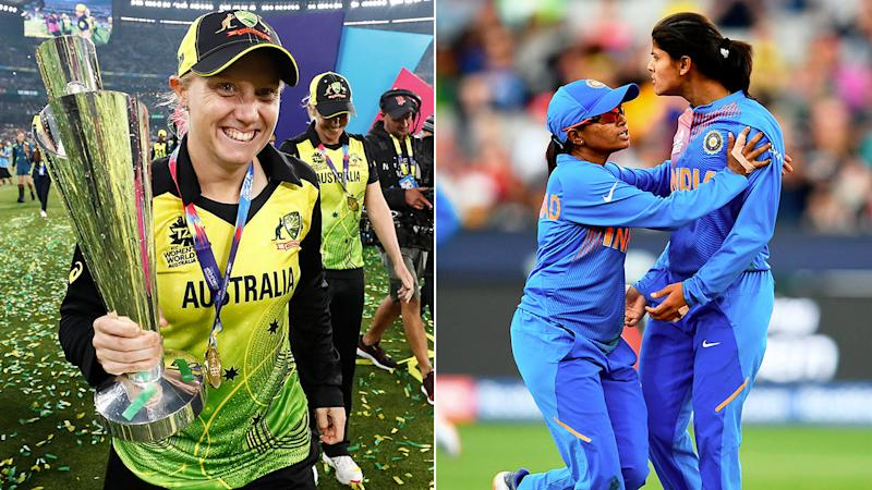 Pictured left, Alyssa Healy says India's players sledged her after claiming the opener's wicket.