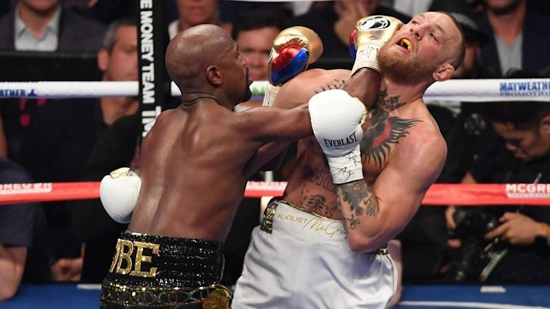 Mayweather pounced once McGregor began to tire. Pic: Getty