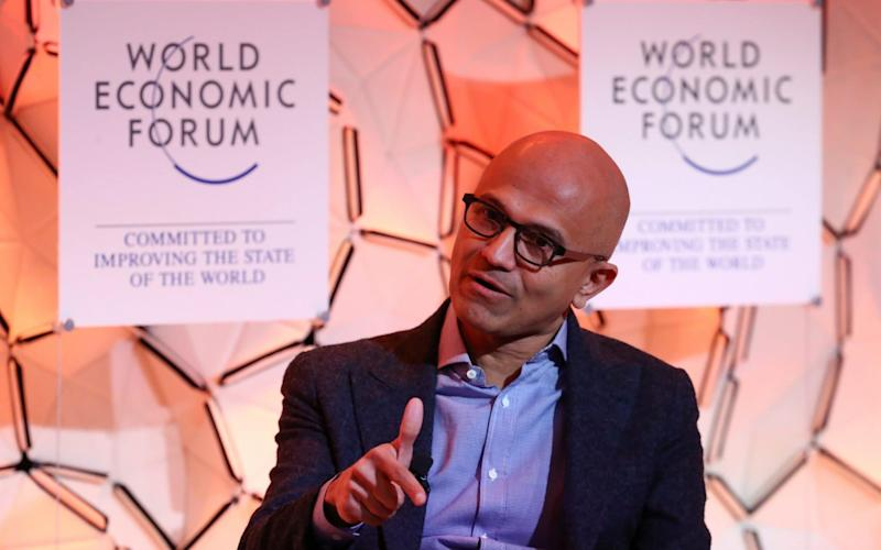Speaking at the World Economic Forum in Davos, the Microsoft chief executive made the case for transparent data privacy laws which put internet users first.  - REUTERS