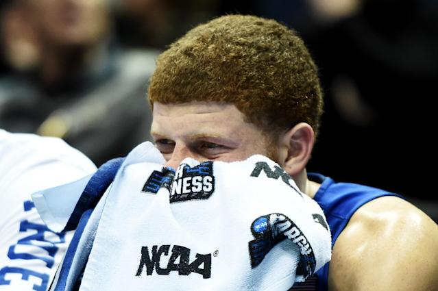 <p>Tyrik Dixon #0 of the Middle Tennessee Blue Raiders reacts in the second half against the Butler Bulldogs during the second round of the 2017 NCAA Tournament at BMO Harris Bradley Center on March 18, 2017 in Milwaukee, Wisconsin. (Photo by Stacy Revere/Getty Images) </p>