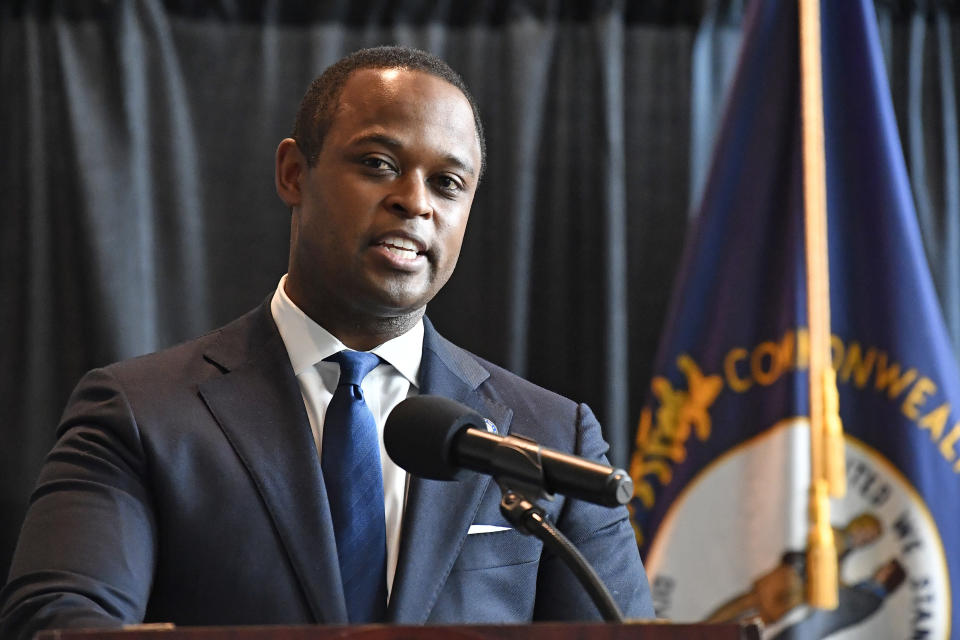 FILE - In this Sept. 23, 2020, file photo, Kentucky Attorney General Daniel Cameron addresses the media in Frankfort, Ky., following the return of a grand jury investigation into the death of Breonna Taylor. (AP Photo/Timothy D. Easley, File)