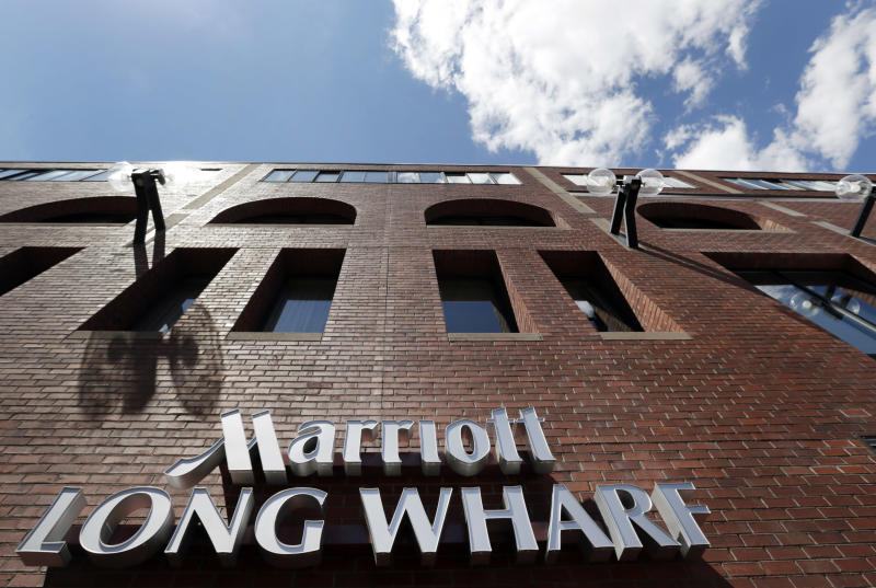 This Monday, July 9, 2012, photo, shows the exterior of the Marriott Long Wharf in Boston. Marriott International says its second-quarter net income rose 6 percent on higher bookings and rates despite a revenue decline due to the spin-off of its timeshare business. (AP Photo/Elise Amendola)
