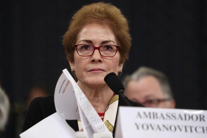 FILE - In this file photo dated Friday, Nov. 15, 2019, former U.S. Ambassador to Ukraine Marie Yovanovitch testifies before the House Intelligence Committee on Capitol Hill in Washington. Ukrainian police said Thursday Jan. 16, 2020, they have opened an investigation into the possibility that former ambassador Yovanovitch came under illegal surveillance before she was recalled from her post in US. (AP Photo/Andrew Harnik, FILE)