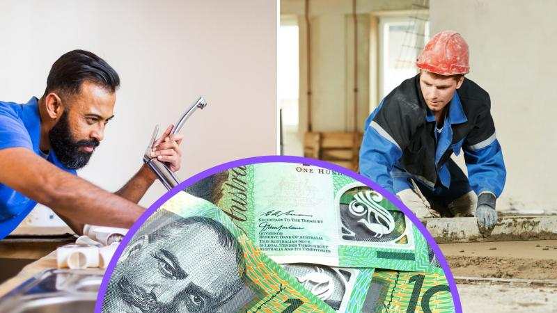 Pictured: Concreter, plumber, Australian $100 notes.