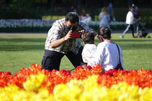 People take photos near the tulips at Ottawa's Commissioners Park Ottawa on May 13, 2021, during the third wave of the COVID-19 pandemic.