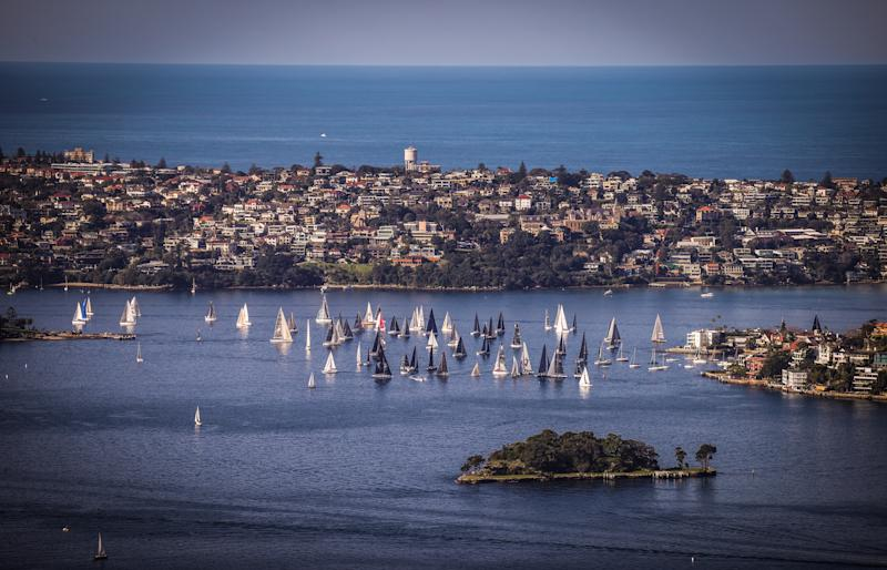 SYDNEY, AUSTRALIA - JULY 19: Sailing boats race on Sydney Harbour, New South Wales, on July 19, 2020 in Australia. (Photo by David Gray/Getty Images)