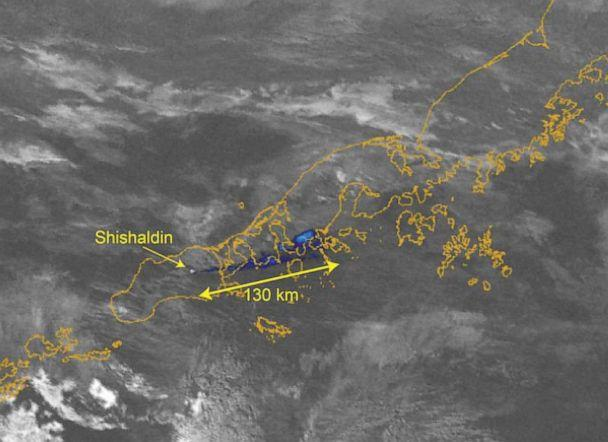 PHOTO: A Brightness Temperature Difference AVHRR satellite image shows a 80.8 miles long ash plume from Shishaldin Volcano in Ala., Jan. 7, 2020. (U.S. Geological Survey/Alaska VO via Reuters)
