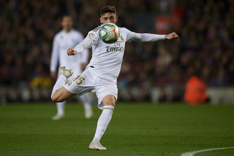Federico Valverde of Real Madrid shooting to goal during the Liga match between FC Barcelona and Real Madrid CF at Camp Nou on October 26, 2019 in Barcelona, Spain. (Photo by Jose Breton/Pics Action/NurPhoto via Getty Images)