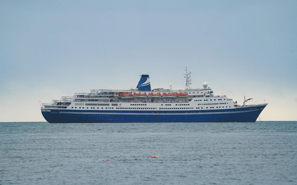 Cruise ship Marco Polo off the coast of Falmouth last year before it made its final voyage - Getty