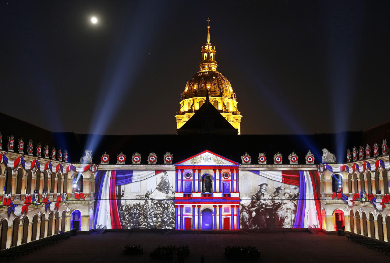 <p>A sound and light is projected on the stones of the facades of the Courtyard of the Invalides in Paris, France. As part of the commemoration of the Centenary of the First World War 14-18, La Nuit aux Invalides presents the new creation of Bruno Seillier: 1918, the birth of a new world. This show will take place from June 27 to September 01, 2018. (Chesnot/Getty Images) </p>