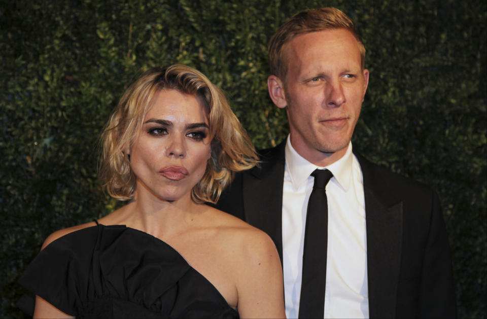 Actors Billie Piper  and Laurence Fox pose for photographers on arrival at the Evening Standard Theatre Awards, on Sunday Nov 30, 2014 in Central London. (Photo by Grant Pollard/Invision/AP)