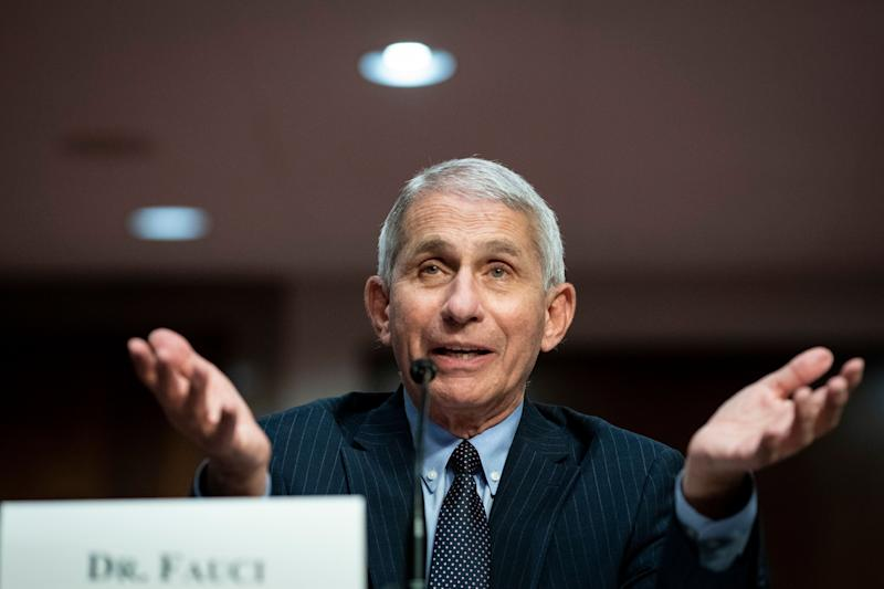 Director of the National Institute of Allergy and Infectious Diseases Dr. Anthony Fauci speaks during a Senate Health, Education, Labor and Pensions Committee hearing on Capitol Hill in Washington, Tuesday, June 30, 2020. (Al Drago/Pool via AP) (Photo: ASSOCIATED PRESS)
