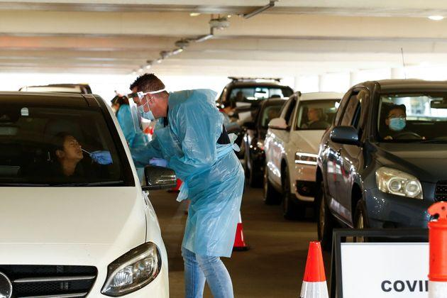 A coronavirus disease (COVID-19) drive-through testing facility is seen as the state of Victoria experiences an outbreak of cases, in Melbourne, Australia, June 25, 2020. AAP Image/Daniel Pockett via REUTERS