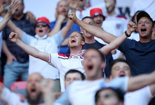 England fans at the team's opening Euro 2020 match against Croatia on Sunday