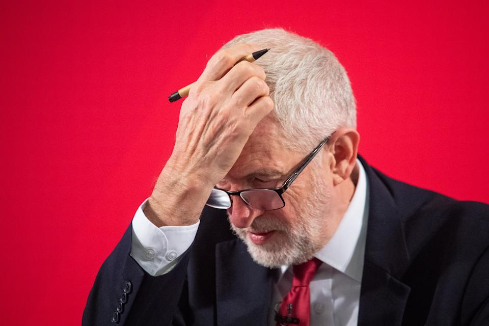 Labour leader Jeremy Corbyn takes questions after making a keynote speech about the NHS, in Westminster, London.