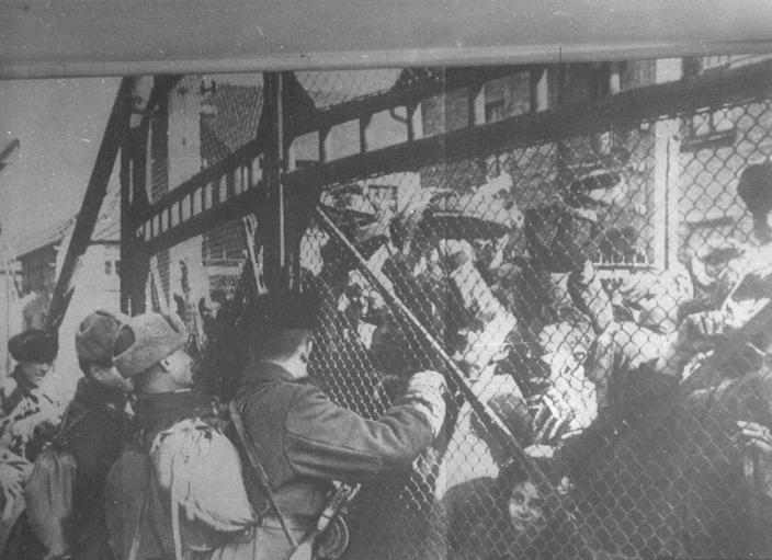 Soviet soldiers arriving at main gate of Auschwitz during liberation (REUTERS:HO AUSCHWITZ MUSEUM REUTERS).JPG