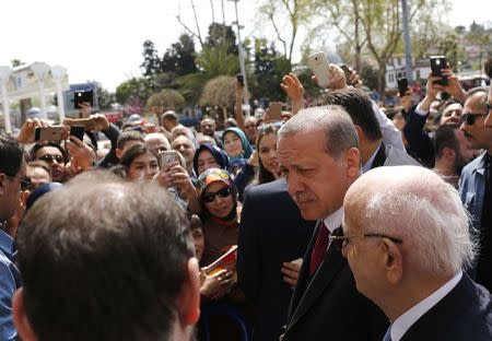 Turkish President Erdogan arrives at Eyup Sultan mosque in Istanbul