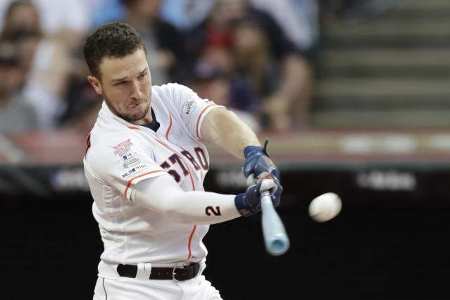Alex Bregman, of the Houston Astros, hits during the Major League Baseball Home Run Derby, Monday, July 8, 2019, in Cleveland. The MLB baseball All-Star Game will be played Tuesday. (AP Photo/Tony Dejak)