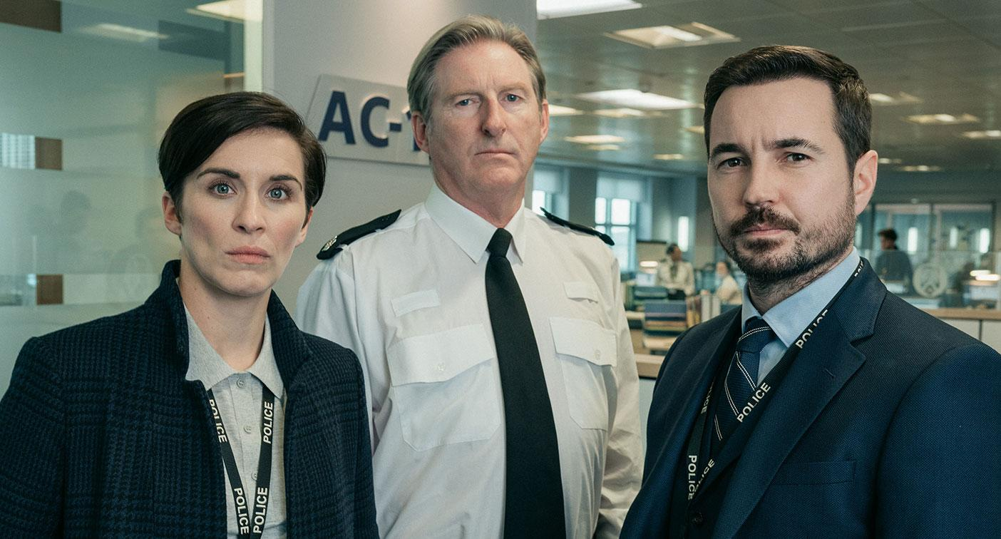 Kate (VICKY MCCLURE), Hastings (ADRIAN DUNBAR), Steve (MARTIN COMPSTON) (BBC/World Productions/Aiden Monaghan)