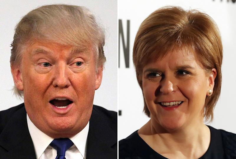 File photos of Donald Trump and Nicola Sturgeon, as the President-elect has discussed the ''long-standing relationship between Scotland and the United States'' in a phone call with the First Minister.