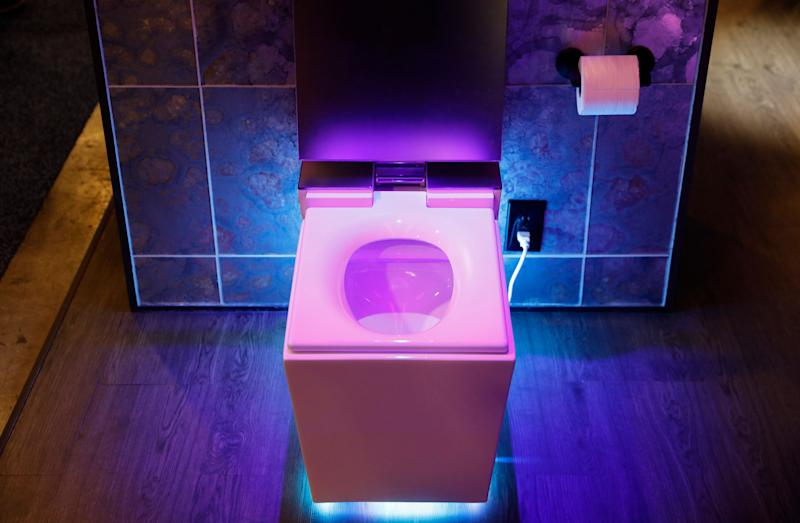The Numi 2.0 intelligent toilet with Amazon Alexa is on display at the Kohler booth at CES International, Wednesday, Jan. 9, 2019, in Las Vegas. (AP Photo/John Locher)