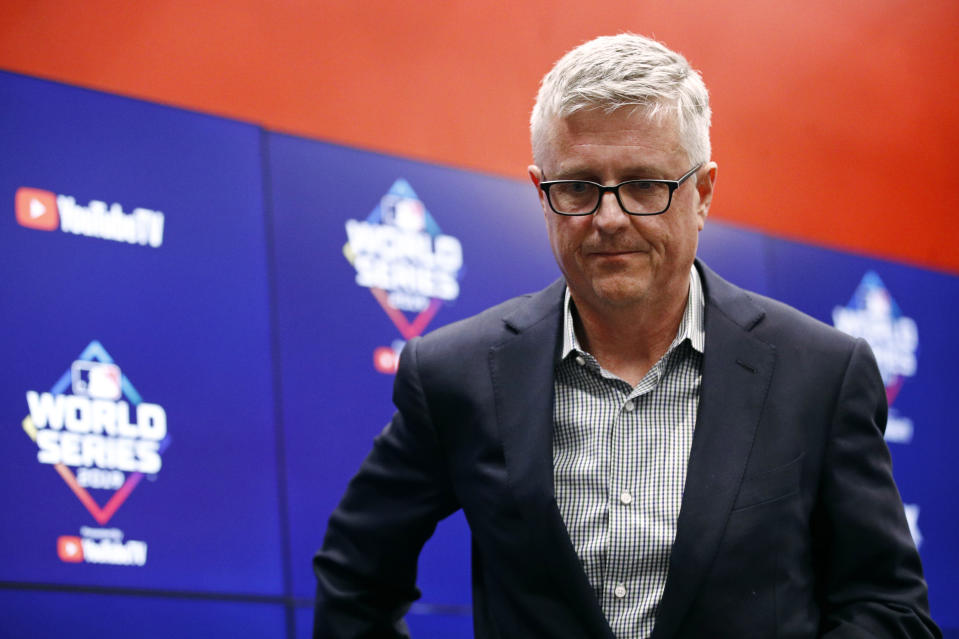Houston Astros general manager Jeff Luhnow departs after speaking at a news conference Thursday, Oct. 24, 2019, in Washington. The Astros and the Washington Nationals are scheduled to play Game 3 of baseball's World Series on Friday. (AP Photo/Patrick Semansky)