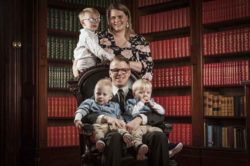 Portrait of 2019 YMCA Father of the Year Christopher Youngman with his wife Alana and sons Ethan (4), Lucas and Noah (2) after receiving his award at Melbourne Town Hall. Photograph by Chris Hopkins for YMCA Victoria