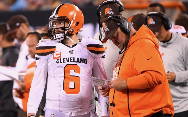 Freddie Kitchens explained his reasoning for exposing Baker Mayfield to injury risk in meaningless game time. (Reuters)
