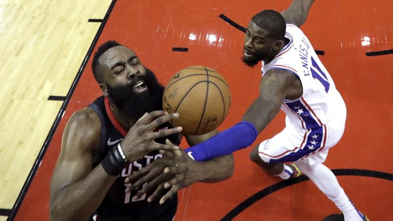 d5a8704983f2 Watch James Harden score 31 to help Rockets rout slumping 76ers 107-91