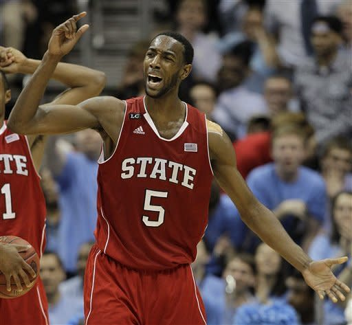 North Carolina State forward C.J. Leslie (5) reacts to fouling out against North Carolina during the second half of an NCAA college basketball game in the semifinals of the Atlantic Coast Conference tournament, Saturday, March 10, 2012, in Atlanta. (AP Photo/Chuck Burton)