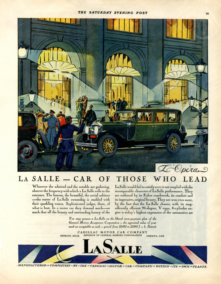 <p>An advert for the GM LaSalle from a series showing the car in various European locations. Illustrated by Edward A.Wilson, c. 1927 © Courtesy of General Motors Company, LLC (V&A Museum) </p>