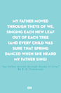 <p>My father moved through theys of we,</p><p>singing each new leaf out of each tree</p><p>(and every child was sure that spring</p><p>danced when she heard my father sing)</p>
