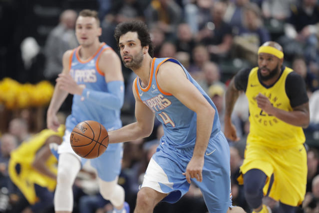 Milos Teodosic left Tuesday night's game with foot soreness. (AP Photo/Michael Conroy)