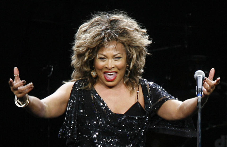 Tina Turner performs in a concert in Cologne, Germany
