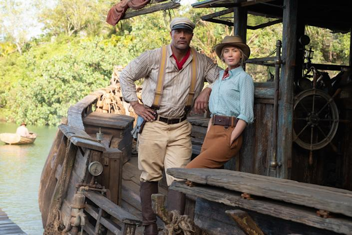 Dwayne Johnson as Frank and Emily Blunt as Lily in Jungle Cruise. (Photo by Frank Masi/Disney)