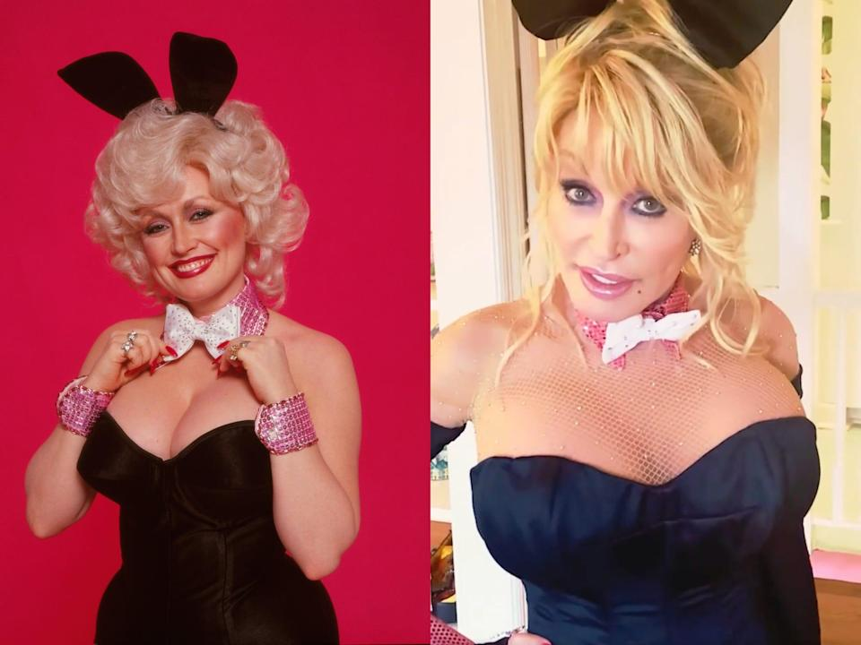 Left: Dolly Parton's original Playboy cover, wearing bunny ears and a corset. Right: Her recreation.