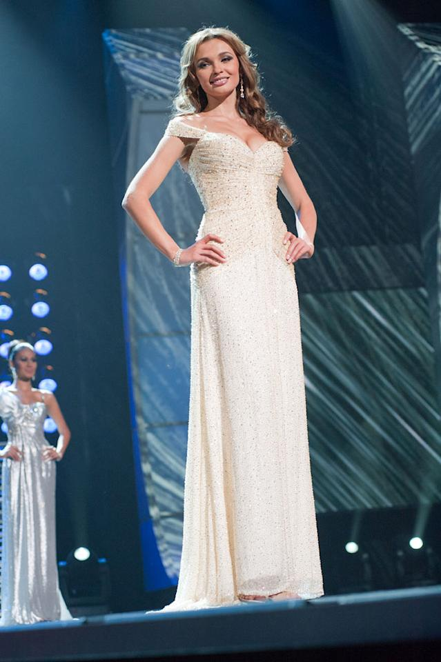 """Anna Poslavska, Miss Ukraine 2010, poses for the judges during final voting at the live telecast of the <a href=""""/2010-miss-universe-pageant/show/46695"""">2010 Miss Universe</a> Pageant."""
