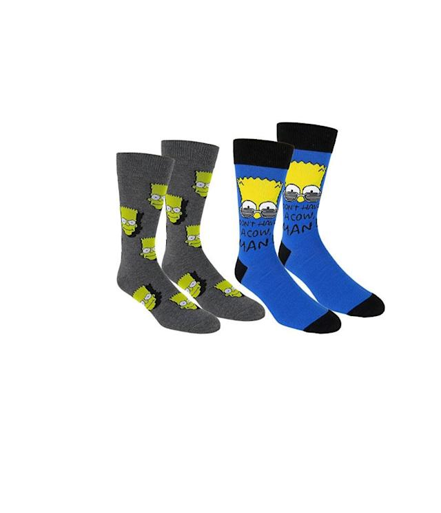 "<p><em>The Simpsons</em> women's 2-pack knee-high socks, $10, <a href=""https://www.amazon.com/Simpsons-Womens-pack-Knee-Socks/dp/B06XC7R1TF/ref=sr_1_27?s=apparel&ie=UTF8&qid=1529508178&sr=1-27&nodeID=7141123011&psd=1"" rel=""nofollow noopener"" target=""_blank"" data-ylk=""slk:amazon.com"" class=""link rapid-noclick-resp"">amazon.com</a> </p>"