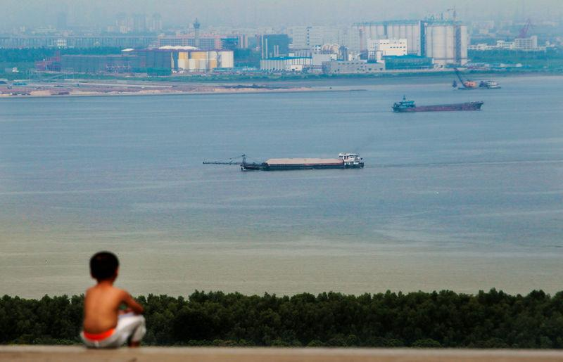 FILE PHOTO: Boy looks at cargo ships passing along the Pearl River in Guangzhou, Guangdong province