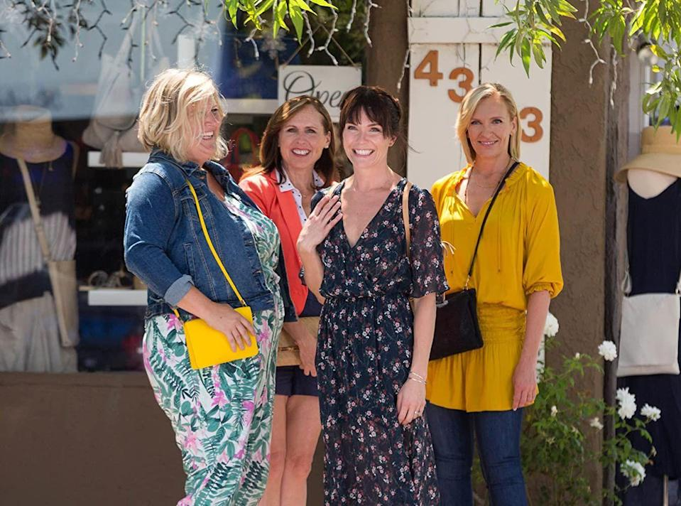 """<p><em>Fun Mom Dinner</em> follows four women (Toni Collette as Kate, Molly Shannon as Jamie, Bridget Everett as Melanie, and Katie Aselton as Emily) as they gather for a rare night out. Of course, the night takes an unexpected and hilarious turn. Adam Levine also makes an appearance as bartender Luke.</p><p><a class=""""link rapid-noclick-resp"""" href=""""https://www.netflix.com/title/80168234"""" rel=""""nofollow noopener"""" target=""""_blank"""" data-ylk=""""slk:Stream it here"""">Stream it here</a></p>"""