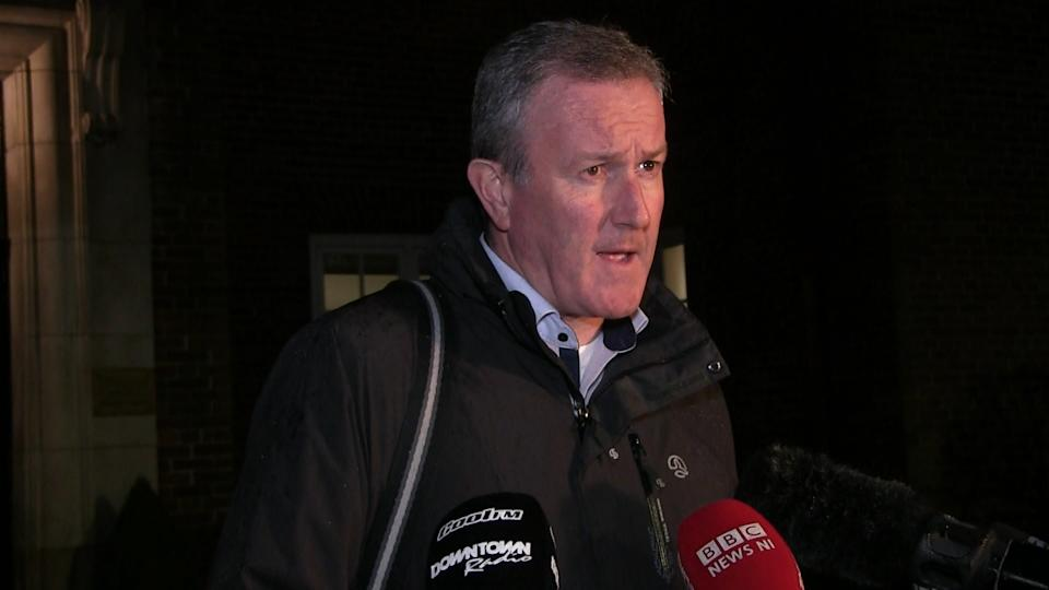Senior Sinn Fein negotiator Conor Murphy speaks to media as roundtable sessions continue in at Stormont in Belfast. The DUP has said a deal to restore the Stormont institutions in the coming days is unlikely.