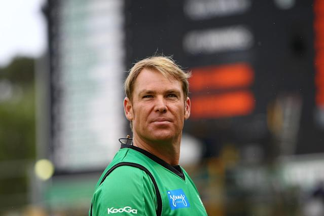 PERTH, AUSTRALIA - DECEMBER 12: Shane Warne of the Stars looks on from the side-lines during the Big Bash League match between the Perth Scorchers and the Melbourne Stars at WACA on December 12, 2012 in Perth, Australia. (Photo by Will Russell/Getty Images)