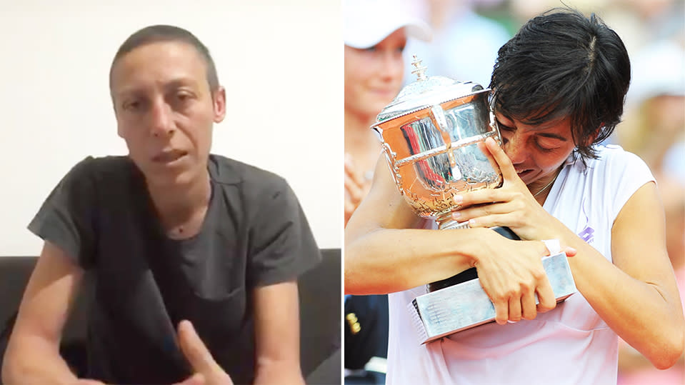 Francesca Schiavone (pictured right) hugging the French Open trophy and (pictured left) following her battle with cancer.