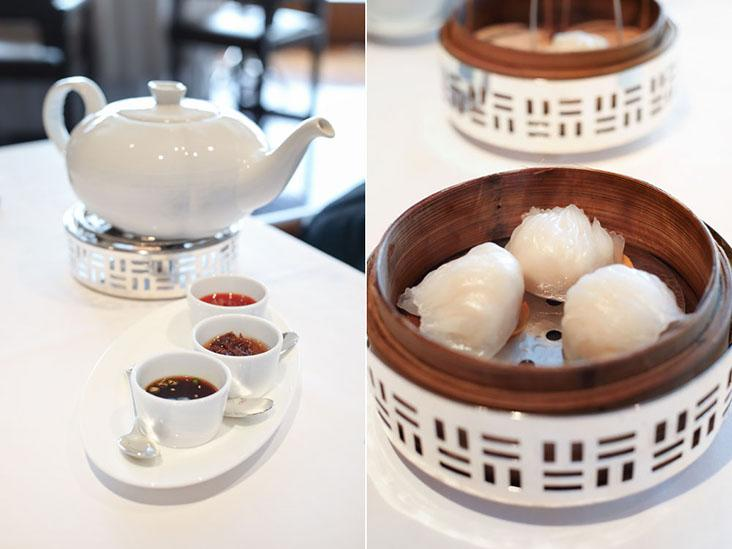 A pot of Chinese tea and condiments (left). 'Har gow' or steamed shrimp dumplings (right)