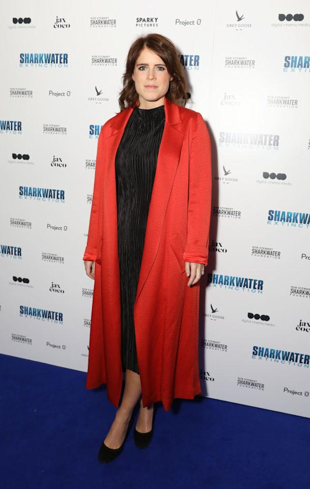 <p>On December 18, Princess Eugenie demonstrated her newfound fashion credentials in a coral coat (next year's 'it' hue) and a slick black dress. <em>[Photo: Getty]</em> </p>